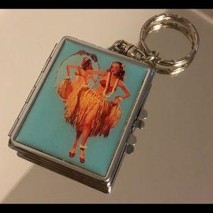 Luau pinup girl compact keychain